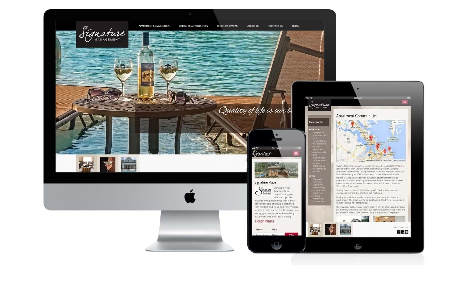 Responsive design of website