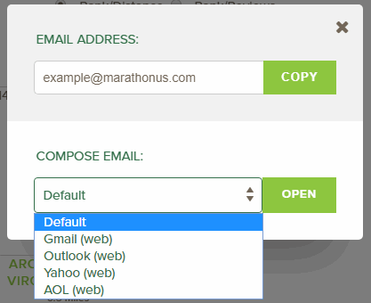 email modal dropdown