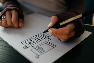 drawing a mobile website wireframe on paper